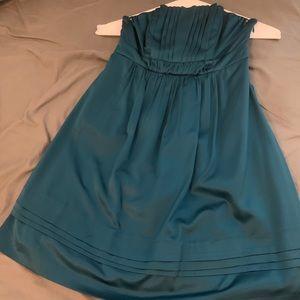 Teal Chiffon Strapless Dress